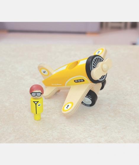 Avion din lemn, Indigo Jamm, Percy, galben, 18 luni+