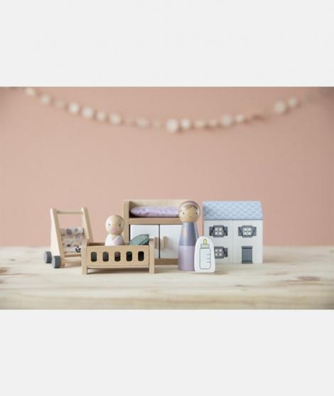 Accesorii casute papusi, Little Dutch, camera bebelusului, din lemn