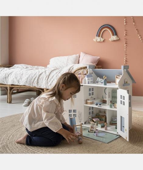 Casuta de papusi, Little Dutch, cu mobilier, din lemn, 20 piese