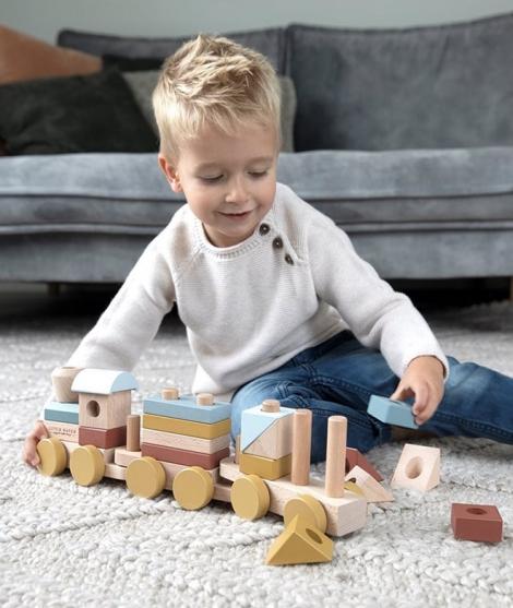 Trenulet din lemn pentu stivuire - colectia Pure&Nature - Little Dutch