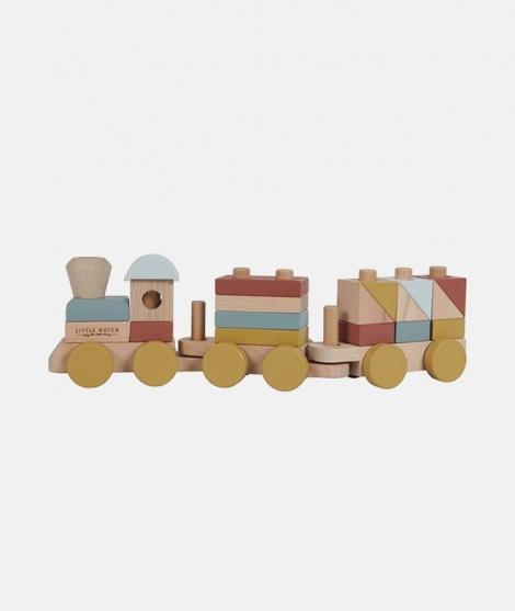 Trenulet din lemn pentu stivuire - colectia Pure&Nature - Little Dutch - Vehicule si jucarii -ElcoKids