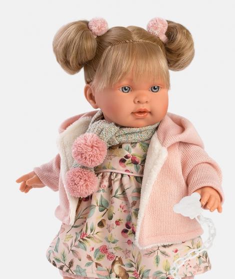 Papusa Llorens, Alexandra, cu rochita roz, 42 cm, cu sunete