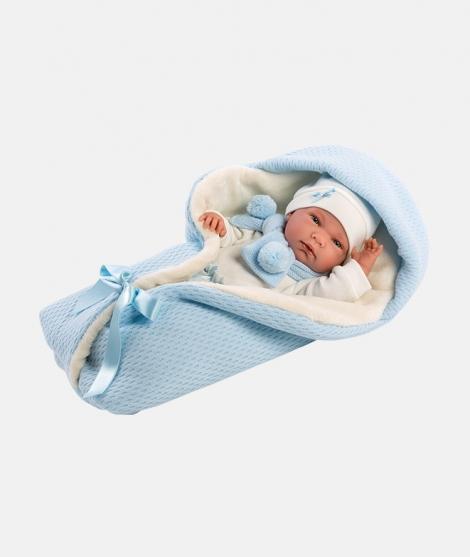 Papusa Llorens, Nico, 40 cm, cu saculet de dormit albastru
