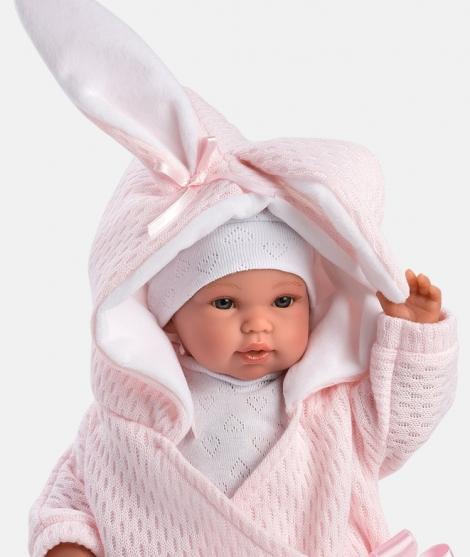 Papusa Llorens, bebelus cu saculet roz, 36 cm, cu sunete