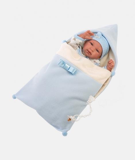 Papusa Llorens, Tino, 44 cm, cu saculet de dormit, cu sunete