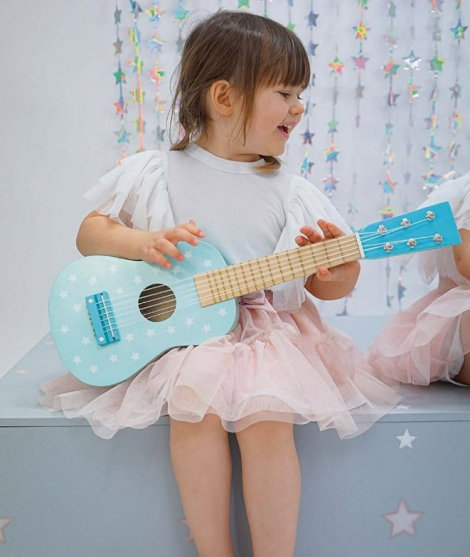 Chitara din lemn, JabaDaBaDo, cu 6 corzi, albastra