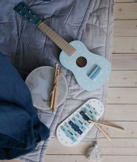 Chitara din lemn, JabaDaBaDo, cu 6 corzi, albastra - Instrumente muzicale de jucarie -ElcoKids