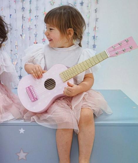 Chitara din lemn, JabaDaBaDo, cu 6 corzi, roz