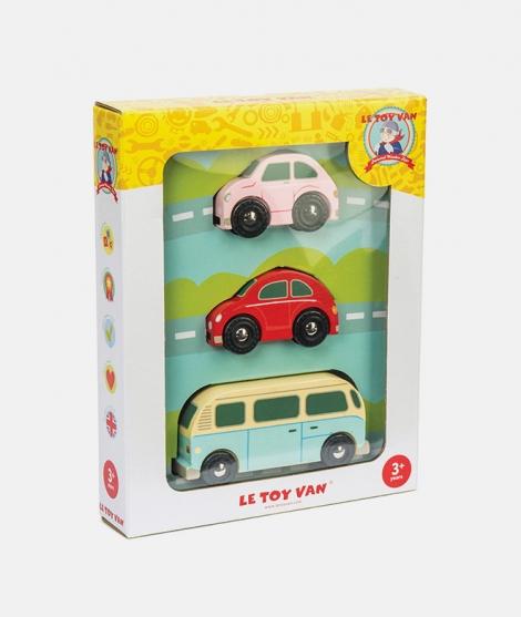Set 3 masini retro, Le Toy Van, din lemn, 3 ani+