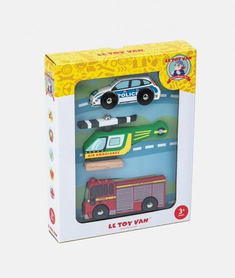Set 3 vehicule de urgenta din lemn, Le Toy Van, multicolor