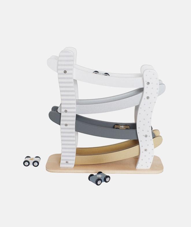 Pista de curse, JaBaDaBaDo, silver, din lemn, cu masinute - Jucarii de lemn -ElcoKids