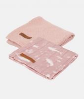 Muselina, Little Dutch, Ocean Pink/Pure Pink, din bumbac, set 2 bucati - ElcoKids
