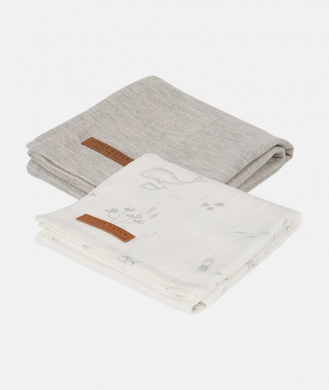 Muselina, Little Dutch, Ocean White/Pure Grey, din bumbac, set 2 bucati - Museline -ElcoKids