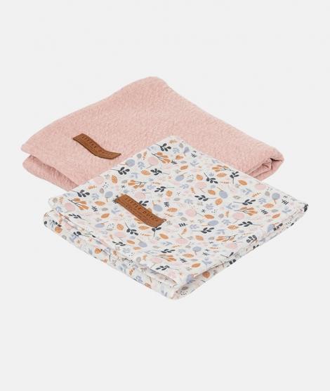 Muselina, Little Dutch, Pure Pink/Spring Flowers, din bumbac, set 2 bucati - Museline -ElcoKids