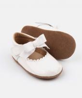 Balerini din piele, Rose et Chocolat, Princess Shiny Bow, albi - ElcoKids