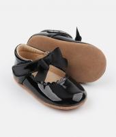 Balerini din piele, Rose et Chocolat, Princess Patent, negri - ElcoKids