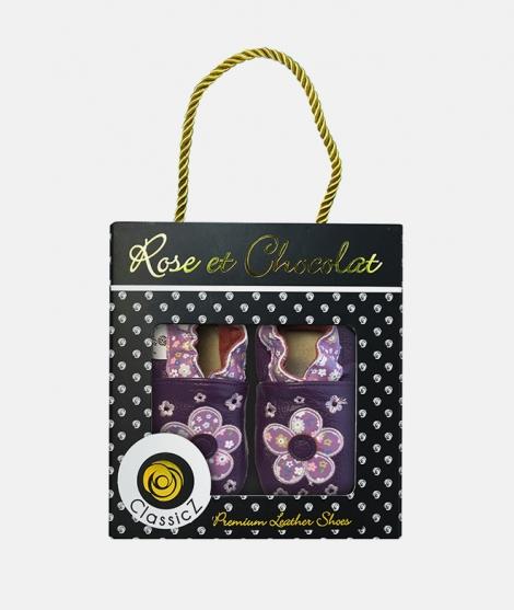 Botosei Pop Flowe, Rose et Chocolat, din piele, violet