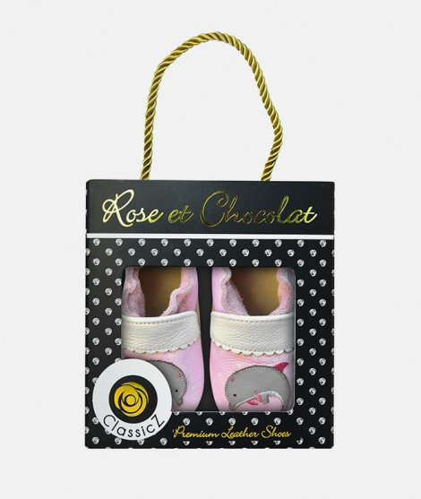 Botosei Dolphin Hearts, Rose et Chocolat, din piele, roz - ElcoKids