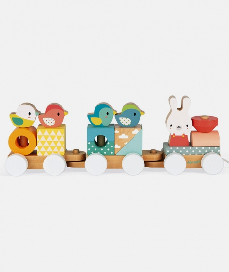 Puzzle tip tren, Janod, din lemn, multicolor, 12 luni+