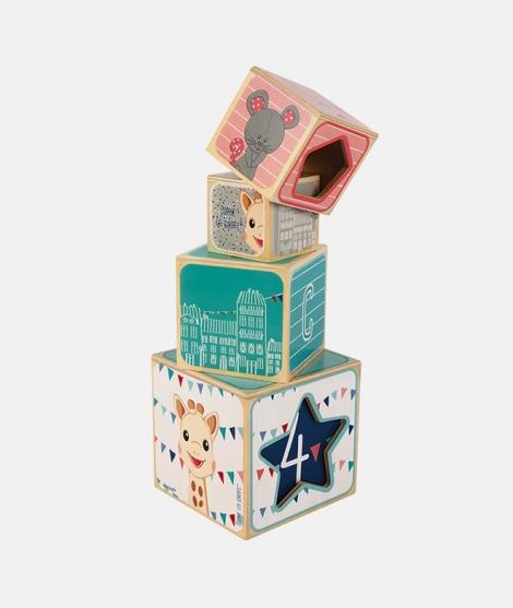 Cuburi de stivuit, Janod, Sophie La Girafe, cu forme