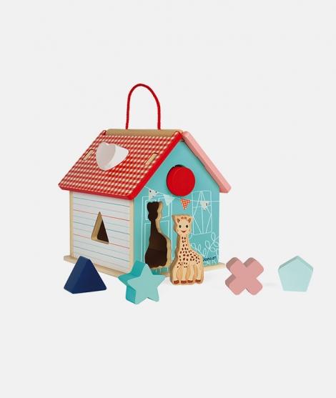 Casuta cu forme de sortat, Janod, Sophie La Girafe, din lemn