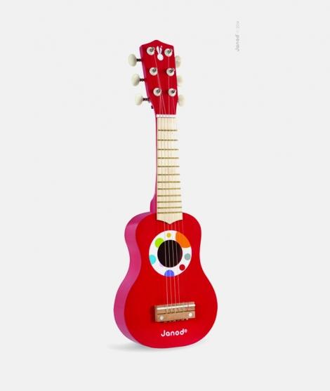 Chitara din lemn, Janod, cu 6 corzi, rosie