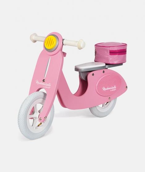 Scooter din lemn, Janod, roz, 3-5 ani