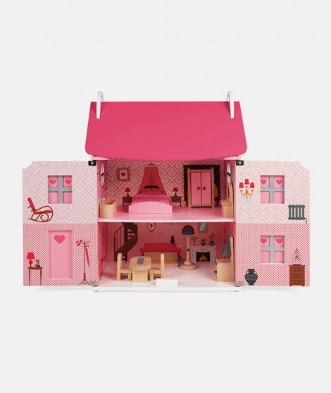 Casuta de papusi, Janod, Mademoiselle, roz, din lemn