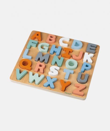 Puzzle alfabetic, Janod, din lemn, multicolor, 2-6 ani