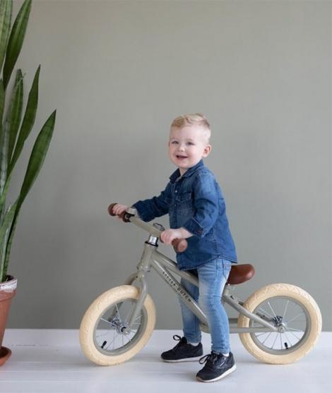 Bicicleta de echilibru, Little Dutch, fara pedale, olive, din otel, 3 ani+