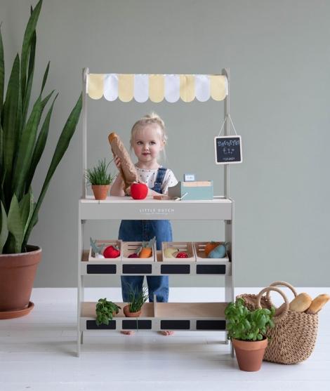 Magazin alimentar din lemn, Little Dutch, multicolor, 3 ani+