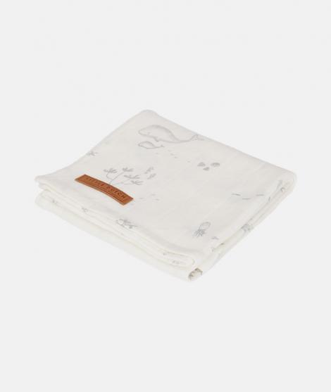 Muselina, Little Dutch, Ocean White, din bumbac, 120 x 120 cm - ElcoKids