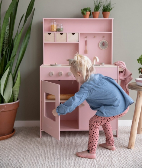 Bucatarie din lemn,  Little Dutch, roz, 3 ani+