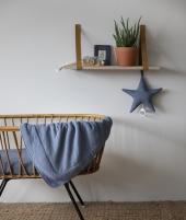 Paturica din bumbac, Little Dutch, Pure Blue, 110 x 140 cm - Paturici si cearsaf bebe -ElcoKids