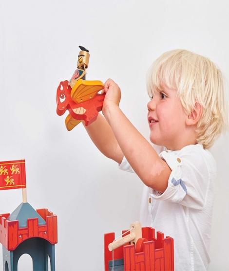 Dragon din lemn, Le Toy Van, rosu, 3 ani+