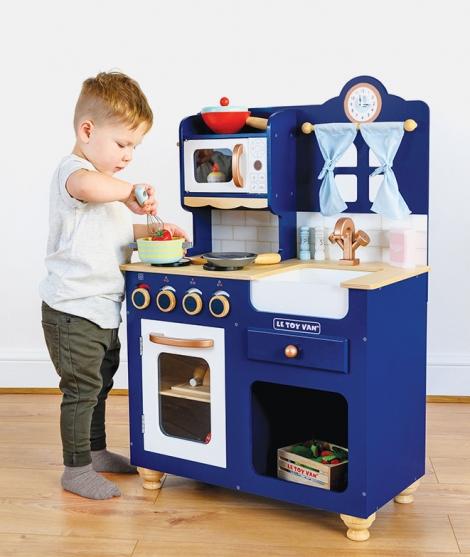 Bucatarie din lemn, Le Toy Van, Oxford, albastra, 3 ani+