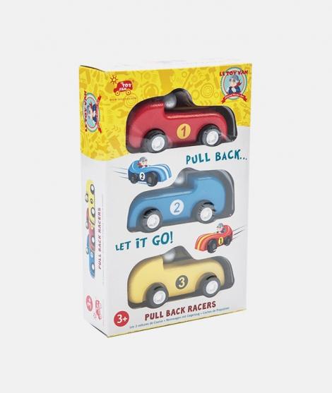 Set 3 masini de curse, Le Toy Van, din lemn, 3 ani+