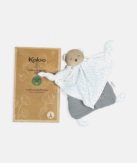 Jucarie doudou, Kaloo, ursulet, din bumbac, gri, 20 cm