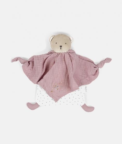 Jucarie doudou, Kaloo, ursulet, din bumbac, roz, 20 cm