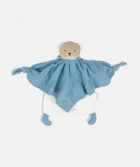 Jucarie doudou, Kaloo, ursulet, din bumbac, albastru, 20 cm