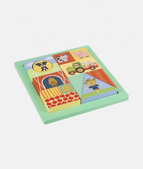 Puzzle cu cuburi, Orange Tree Toys, ferma, 12 luni+