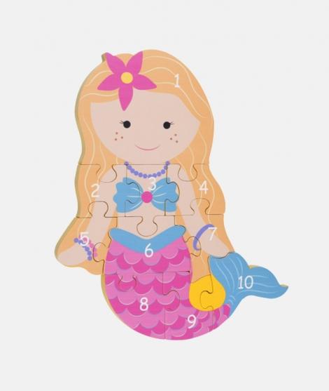 Puzzle numeric, Orange Tree Toys, mermaid, 12 luni+ - ElcoKids