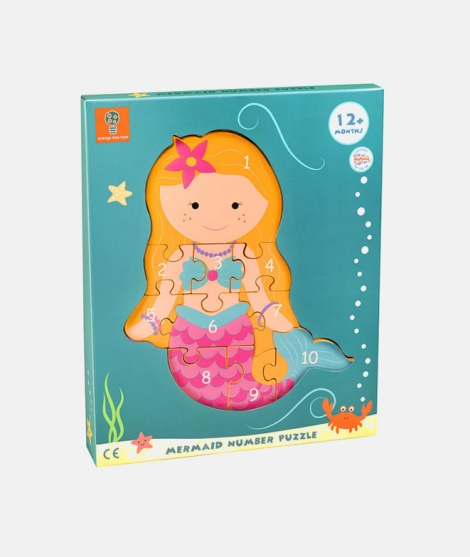 Puzzle numeric, Orange Tree Toys, mermaid, 12 luni+