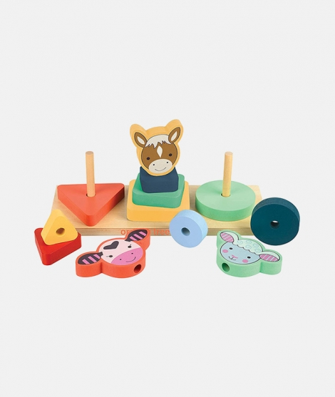 Joc de stivuit, Orange Tree Toys, ferma, 12 luni+