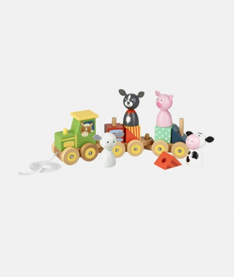 Puzzle tip tren, Orange Tree Toys, cu animale de la ferma