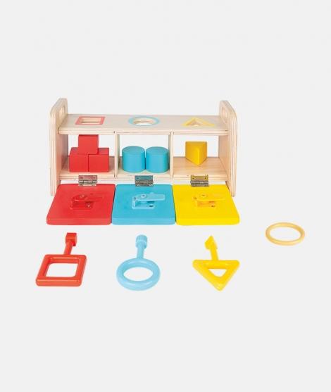 Cutie de sortat forme, Janod, cu chei, din lemn - ElcoKids