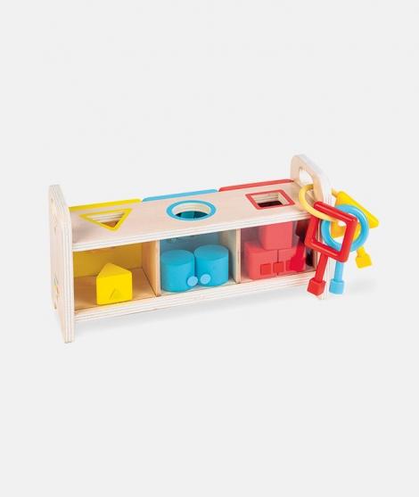 Cutie de sortat forme, Janod, cu chei, din lemn
