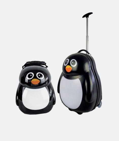 Troler de calatorie, Prima Infanzia, pinguin, set 2 bucati