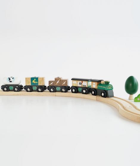 Trenulet de marfa, Le Toy Van, din lemn, verde