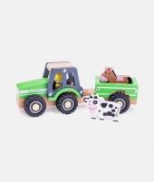 Tractor din lemn, New Classic Toys, cu trailer si animale - ElcoKids